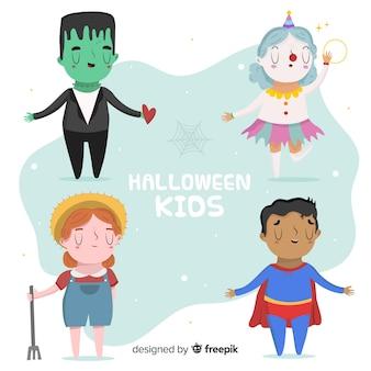 Lustige und nette halloween-nachtkinder eingestellt