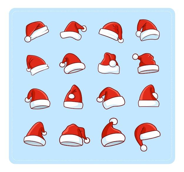 Lustige und niedliche weihnachtsmannmütze eingestellt für weihnachtsdekoration