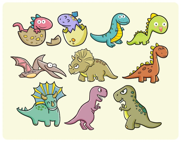 Lustige und süße dinosaurier-sammlung im einfachen doodle-stil