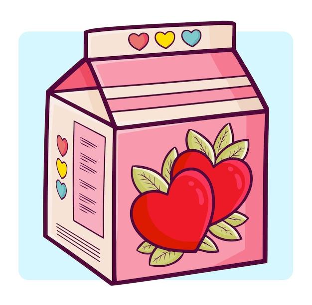 Lustige und süße süße valentinsmilch im einfachen gekritzelstil