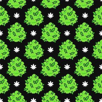 Lustige unkraut-marihuana-knospen und nahtloses muster der blätter. vektor kawaii cartoon illustration icon-design. auf schwarzem hintergrund isoliert. unkraut, cannabis, marihuana nahtloses mustertapetenkonzept