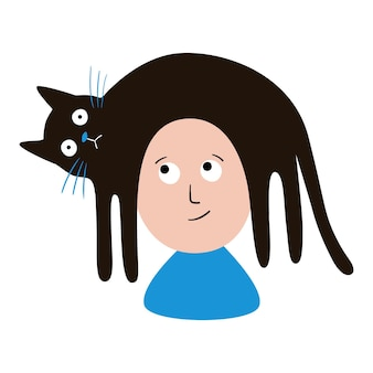Lustige vektorillustration die katze liegt auf dem kopf einer person katze auf dem kopf