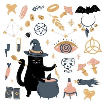 Lustige vektormagiesammlung mit hexerei- und okkultismussymbolen schwarzer katzenschädel usw