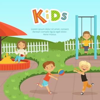 Lustige verschiedene kinder, die auf spielplatz spielen. kindheit und kind im kindergarten, vektorillustration