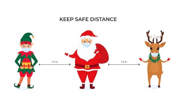 Lustige weihnachtselfen, hirsche und weihnachtsmänner tragen schützende gesichtsmasken. halten sie soziale distanz. vorbeugende maßnahmen während der coronavirus-pandemie coivd-19.