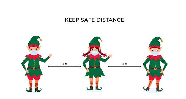 Lustige weihnachtselfen in schützenden gesichtsmasken. halten sie soziale distanz. vorbeugende maßnahmen während der coronavirus-pandemie coivd-19.