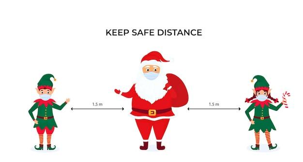 Lustige weihnachtselfen und der weihnachtsmann tragen schützende gesichtsmasken. halten sie soziale distanz. vorbeugende maßnahmen während der coronavirus-pandemie coivd-19.
