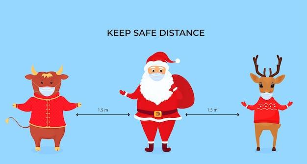 Lustige weihnachtshirsche, ochsen und weihnachtsmänner tragen schützende gesichtsmasken. halten sie soziale distanz. vorbeugende maßnahmen während der coronavirus-pandemie coivd-19.