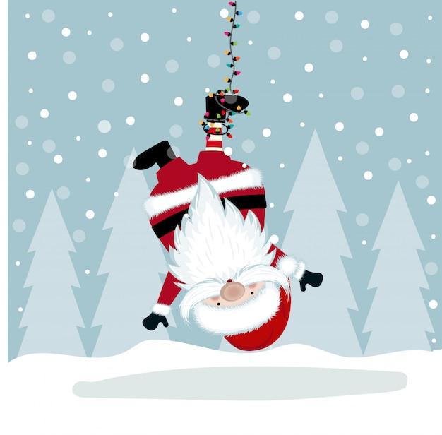 Lustige weihnachtsillustration mit dem hängen von sankt