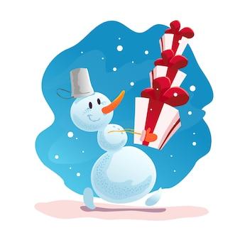 Lustige weihnachtsillustration mit glücklichem schneemann. . schneemann, der geschenke und geschenke trägt. neujahrsillustrationselement.
