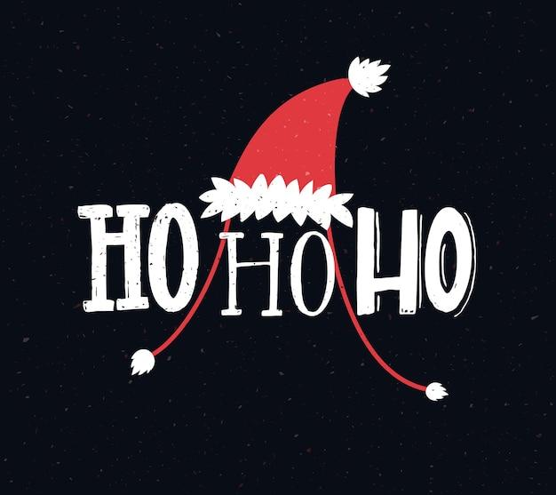 Lustige weihnachtskarte mit text ho ho ho handschrift grüße hohoho