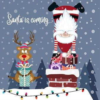 Lustige weihnachtskarte mit weihnachtsmann und rentier