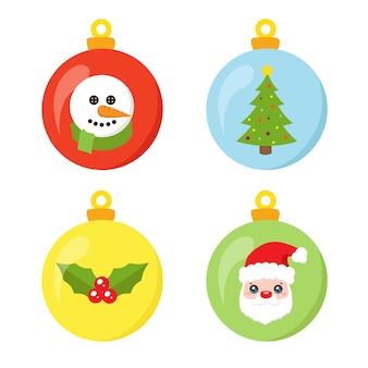 Lustige weihnachtskugelsammlung lokalisiert auf weiß