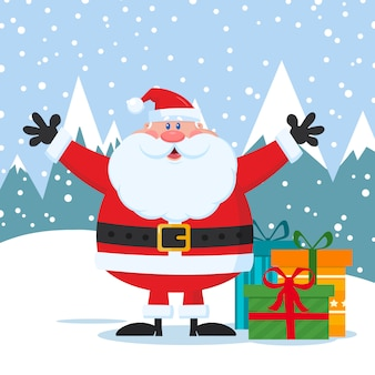 Lustige weihnachtsmann-cartoon-figur
