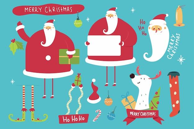 Lustige weihnachtsmann-karikaturfiguren und weihnachtselemente, die auf hintergrund lokalisiert werden