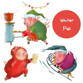 Lustige winterschweincharaktere
