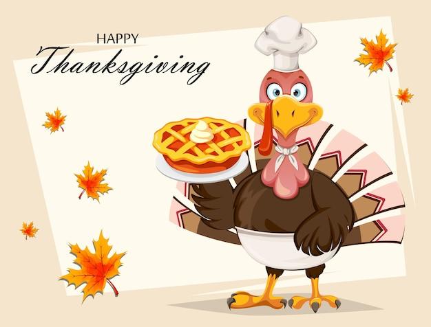 Lustige zeichentrickfigur thanksgiving-truthahnvogel