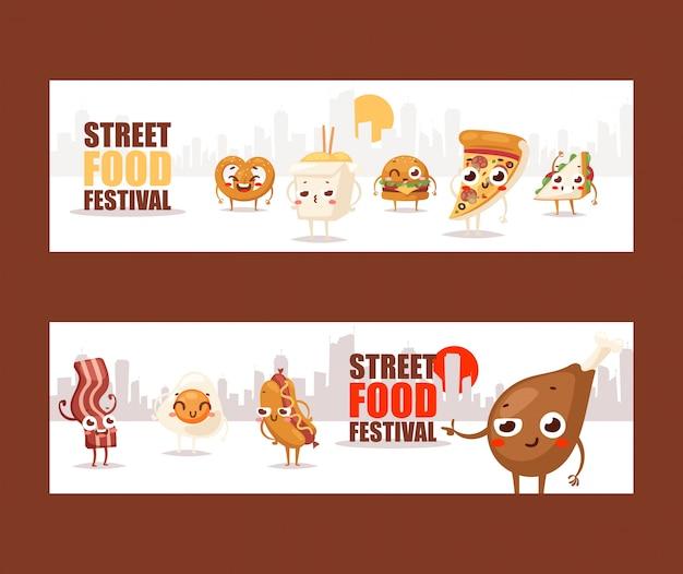 Lustige zeichentrickfilm-figuren des schnellimbisses fahnen, die ein straßenlebensmittelfestival annoncieren