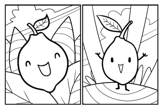 Lustige zitronen-cartoon-malvorlagen