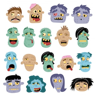 Lustige zombie-avatar-symbol im cartoon-stil