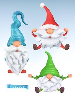 Lustige zwerge. weihnachten 3d vektor cartoon zeichen gesetzt