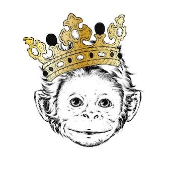 Lustiger affe, der eine krone trägt