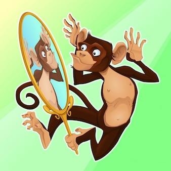 Lustiger affe selbst in einem spiegel cartoon vektor-illustration reflektierende