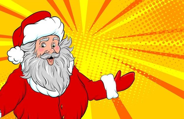 Lustiger alter weihnachtsmann-ausstellungsort für text-pop-art-stil