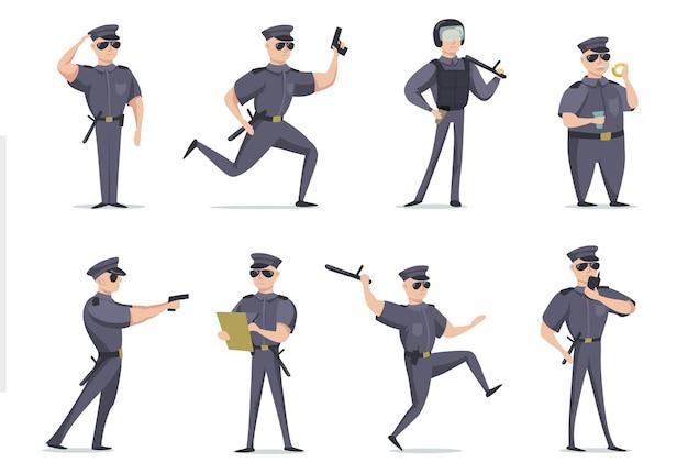 Lustiger amerikanischer polizist in verschiedenen posen flacher gegenstandssatz