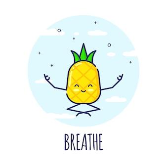 Lustiger ananas-charakter, der in lotos pose padmasana meditiert. yoga-kurse.