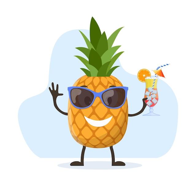 Lustiger ananascharakter mit menschlichem gesicht human