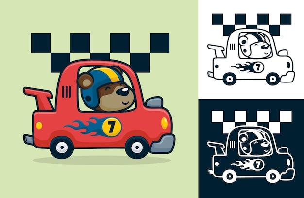 Lustiger bär, der helm auf rennwagen trägt. karikaturillustration im flachen ikonenstil