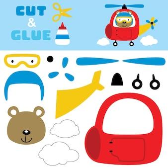 Lustiger bärengesteuerter hubschrauber. papierspiel für kinder. ausschnitt und kleben.