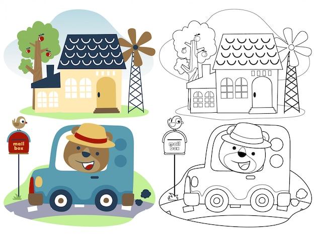 Lustiger bärenkarikatur gehen mit kleinem auto nach hause