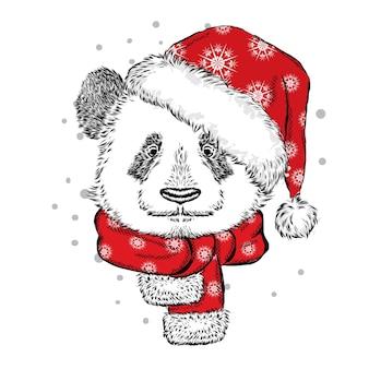 Lustiger bärenpanda in einer weihnachtsmütze und einem schal.