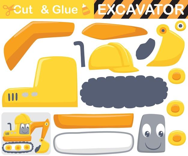 Lustiger bagger, der arbeiterhelm trägt. bildungspapierspiel für kinder. ausschnitt und kleben. cartoon-illustration