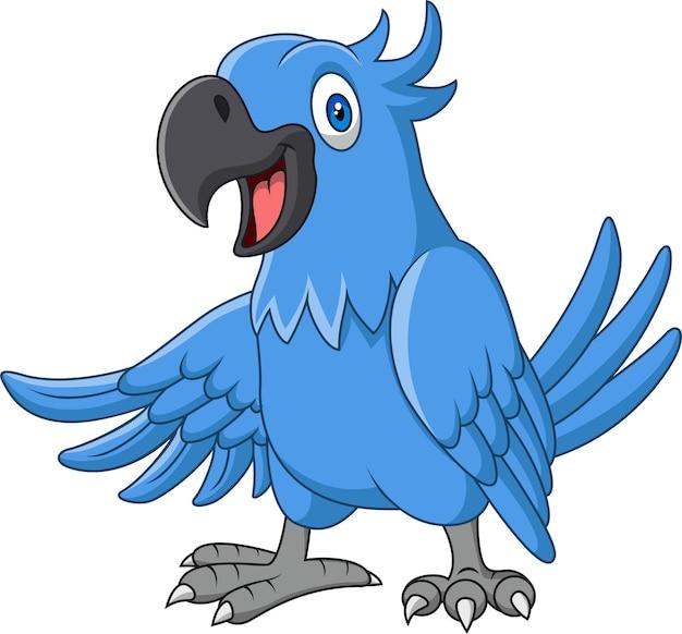 Lustiger blauer ara der karikatur lokalisiert auf weiß