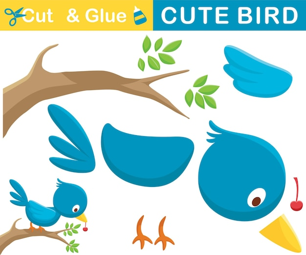 Lustiger blauer vogelbarsch auf ästen mit früchten im schnabel. bildungspapierspiel für kinder. ausschnitt und kleben. cartoon-illustration