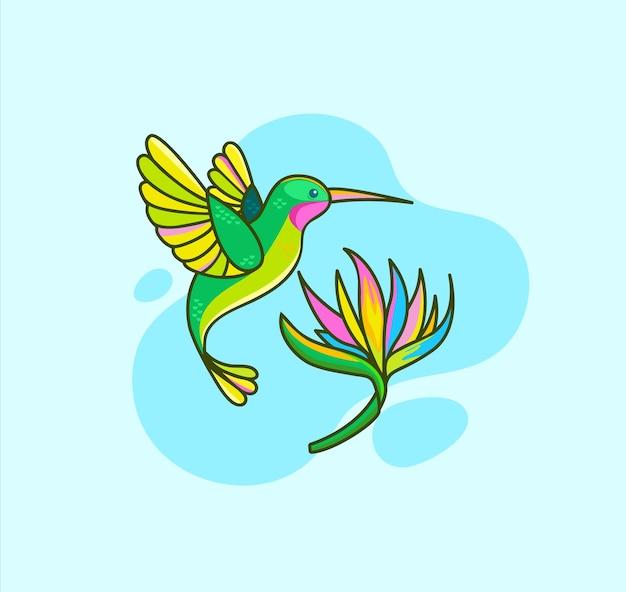 Lustiger bunter kolibri, der nahe tropischer blume auf blauem hintergrund fliegt. colibri für designgeburtstagskarten, zoo-anzeige, druck, naturkonzept, kinderbuch. vogel im wilden leben. südamerika-fauna. vektor