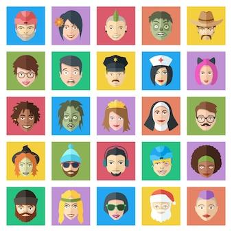 Lustiger bunter vektorzeichensatz. menschen im flachen stil stehen vor ikonen. niedliche männliche und weibliche avatare.