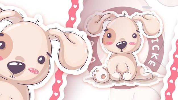 Lustiger cartoon-charakter-tierhund-aufkleber hand zeichnen