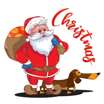 Lustiger cartoon-weihnachtsmann mit sack voller geschenke auf dem rücken und braunem dackel - symbol des jahres. farbiger weihnachtsmann isoliert auf weißem hintergrund. vektor-illustration. perfekt für grußkarten