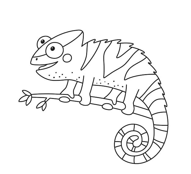 Lustiger chamäleon-eidechsen-charakter für kindermalbuch. reptil mit gebogenem schwanz, der auf einem zweig des dschungelbaums sitzt. isolierte vektor-illustration auf weißem hintergrund.