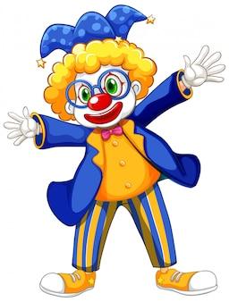 Lustiger clown, der blaue jacke und brille trägt