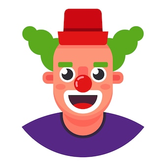 Lustiger clown. der kopf lächelt. flache charakter-vektor-illustration.