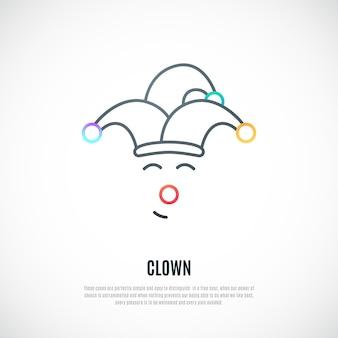 Lustiger clown dünne linie symbol isoliert