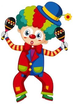 Lustiger clown mit rüttlern in seinen händen