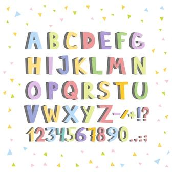 Lustiger comic-font. hand gezeichnete kleine bunte buchstaben des englischen alphabetes der karikatur. vektor-illustration