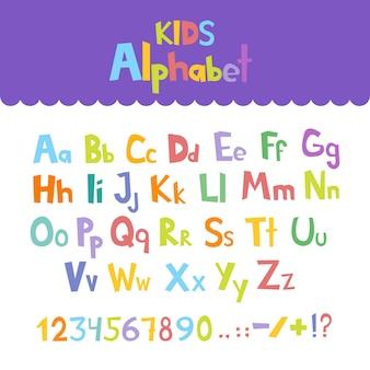 Lustiger comic-font. übergeben sie gezogenes englisches alphabet der klein- und versalienbunten karikatur mit den klein- und versalienbuchstaben. vektor-illustration