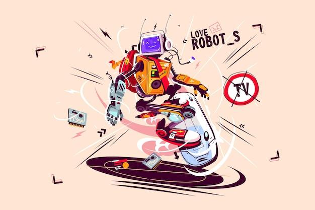 Lustiger computerroboter auf fliegendem brettvektorillustrations-cartoon-bot mit künstlicher intelligenz